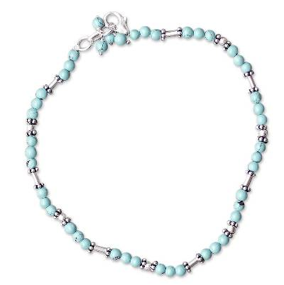 Sterling Silver Beaded Turquoise Colored Anklet