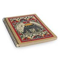 Madhubani journal, 'Joyful Elephant' - Madhubani painting journal