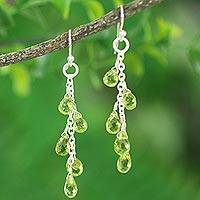 Peridot dangle earrings, Waterfall