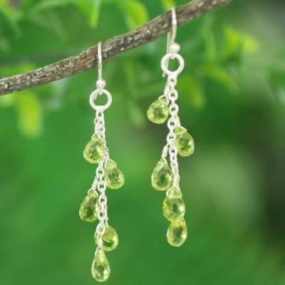Peridot dangle earrings, 'Waterfall' - Dangling Peridot Earrings Hand Crafted in India