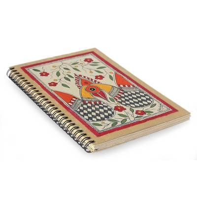 Madhubani journal, 'Peacock Romance' - Madhubani painting journal