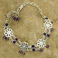 Amethyst anklet, 'Floral Dancer' - Amethyst Anklet from Sterling Silver Floral Jewelry