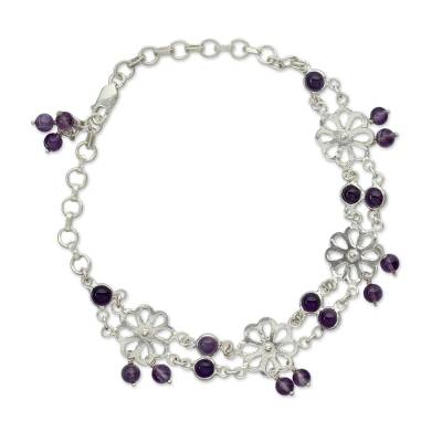 Amethyst Anklet from Sterling Silver Floral Jewelry