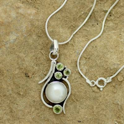 Pearl and peridot pendant necklace, 'Sublime India' - Cultured Pearl Peridot and Sterling Silver Necklace