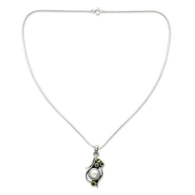 Unique Cultured Pearl Peridot and Sterling Silver Necklace