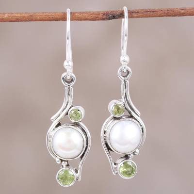 Pearl and peridot dangle earrings, 'Sweet Dreams' - India Style Pearls and Peridot Earrings