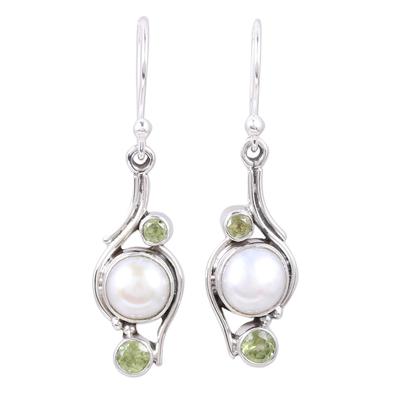 Novica Indian Pearl and Peridot Jewelry Earrings