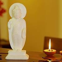 Marble sculpture, 'Buddha's Blessing of Peace' - Buddhism White Marble Sculpture from India