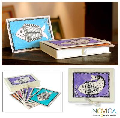 Madhubani greeting cards, 'Fish of Bihar' (set of 8) - Madhubani greeting cards (Set of 8)