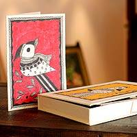 Madhubani greeting cards, 'Birds of Mithila' (set of 8) - Madhubani greeting cards (Set of 8)