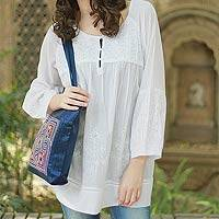 Cotton  blouse, 'Romantic White' - Hand Made Indian Floral Cotton Embroidered Tunic Top