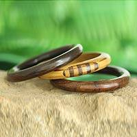 Wood bangle bracelet, 'Forest Goddess' (set of 3) - Artisan Crafted Wood Bangle Bracelets (Set of 3)
