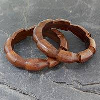 Wood bangle bracelets, 'Forest Suns' (pair) - Handmade Wood Bangle Bracelets (Pair)
