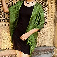 Banarasi silk shawl, 'Jade Twilight' - Banarasi silk shawl