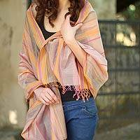 Cotton and silk shawl, 'Indore Chic' - India Hand Loomed Cotton Silk Blend Shawl
