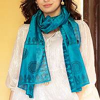Cotton and silk shawl, 'Turquoise Bihar' - Cotton Silk Blend Wrap Patterned Shawl