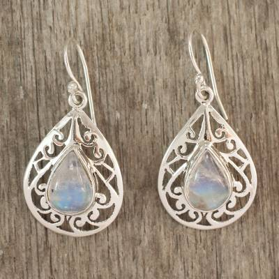 Moonstone dangle earrings, 'Rainbow Teardrops' - Moonstone Jewelry Handmade Sterling Silver Earrings