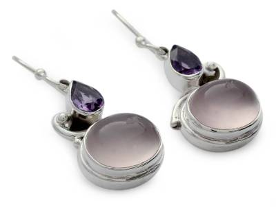 Amethyst and rose quartz dangle earrings, 'Mumbai Dawn' - Rose Quartz and Amethyst Earrings on Sterling Silver