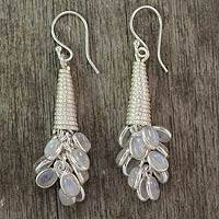 Rainbow moonstone cluster earrings, 'Bouquet of Love' - Rainbow Moonstone Earrings Hand Made Sterling Silver