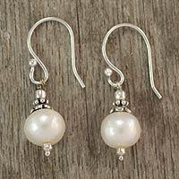 Pearl dangle earrings, 'Mumbai Moonlight' - Pearl dangle earrings