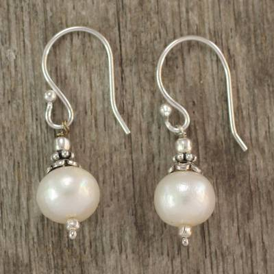 Pearl dangle earrings, Mumbai Moonlight