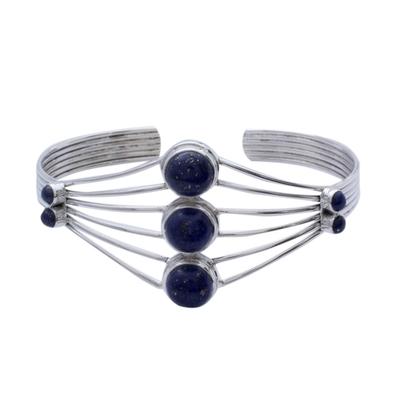 Lapis Lazuli Cuff Bracelet from India Silver Jewelry