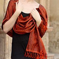 Banarasi silk shawl, 'Orange Noon' (India)