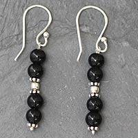 Onyx dangle earrings, 'Pillars of Night'