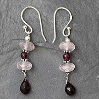 Garnet and rose quartz dangle earrings, 'Romancing Love' - Garnet and rose quartz dangle earrings