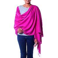Wool and silk shawl, 'Mumbai Orchid' - Woven Purple Wool and Silk Shawl with Fringe from India