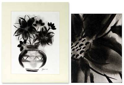 'Midnight Blossom' - Black and White Painting from India