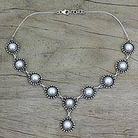 Pearl Y necklace, 'Purity' - Pearl Y necklace
