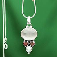 Cultured pearl and rose quartz pendant necklace, 'Love Energy' - Pearl and Rose Quartz Necklace from India Jewelry