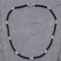 Onyx and moonstone beaded necklace, 'Majestic Night'