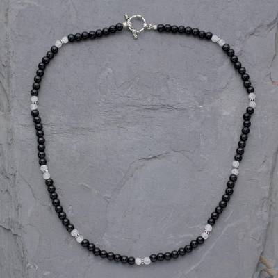 Onyx and moonstone beaded necklace, 'Majestic Night' - Onyx and moonstone beaded necklace