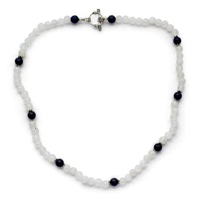 Rainbow Moonstone and Lapis Lazuli Beaded Necklace