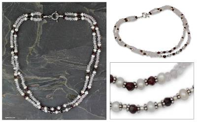Rose quartz and garnet strand necklace, All About Love