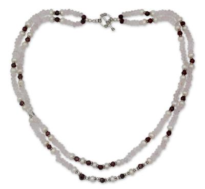 Rose quartz and garnet strand necklace