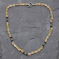 Citrine and garnet beaded necklace, 'Golden Autumn' - Citrine and garnet beaded necklace
