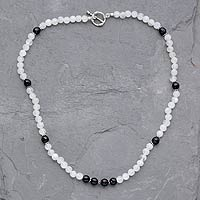 Rainbow moonstone and onyx beaded necklace, 'Kashmir Melody'