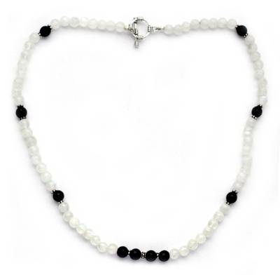 Rainbow Moonstone and Onyx beaded necklace