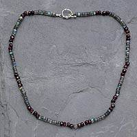 Labradorite and garnet beaded necklace,