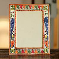 Madhubani photo frame, 'Indian Peacock' (5x7) - Madhubani photo frame (5x7)