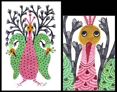 Gond painting, 'Friendly Peacocks' - Gond painting