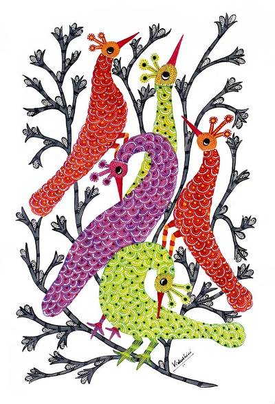 Gond painting, 'Peacock Family' - Gond painting