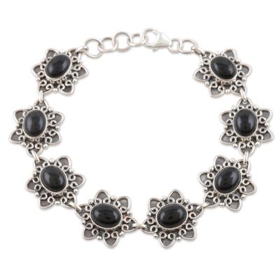Onyx flower bracelet
