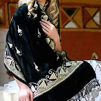 Wool and silk shawl, 'Golden Berries' - Wool Silk Wrap Black Embroidered Shawl