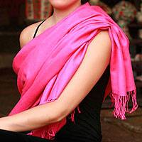 Wool and silk shawl, 'Hot Pink Paradise' - Wool and silk shawl