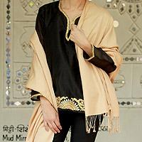 Wool and silk shawl,