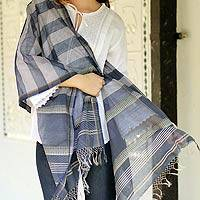 Cotton and silk shawl, 'Maheshwar Midnight' - Handcrafted Cotton Silk Blend Striped Shawl